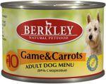 Корм для собак Berkley дичь (оленина) с морковью  №10 консервы 200г