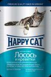 Консервы для кошек Happy Cat лосось,креветки 100г