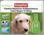 Капли от блох и клещей Beaphar BIO Medium Dogs для собак мелких и средних пород (15-30кг) пород, 3 пипетки