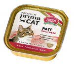 Корм для кошек PrimaCat Pate with beef  паштет из говядины консервы 100г