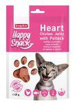 Лакомства Beaphar Happy Snack Нежные сердечки из курицы и трески для кошек 40г