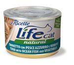 Консервы для кошек Lifecat Tuna - Ocean fish - Veгetables тунец с океанической рыбой и овощами в бульоне 150г