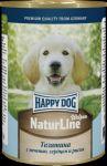 Консервы для собак Happy Dog Телятина с  печенью, сердцем и рисом 400г