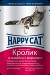 Консервы для кошек Happy Cat кролик,индейка,морковь 100г