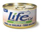Консервы для кошек Lifecat Tuna - Sole тунец с камбалой в бульоне 85г