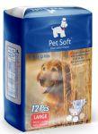 Подгузники Pet Soft Diaper L (10-20кг,талия 34-54см) 3 цвета 12шт