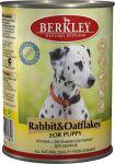 Корм для щенков Berkley  кролик с овсянкой консервы 400г