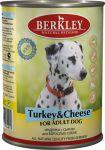 Корм для собак Berkley индейка с сыром консервы 400г